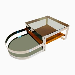 Coffee Table in Steel, Glass & Cow Leather Attributed to Willy Rizzo, 1970s