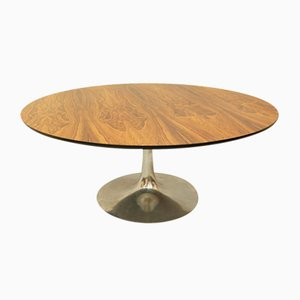 Arkana Round Coffee Table in Rosewood and Tulip Base in Cast Aluminum, 1970s