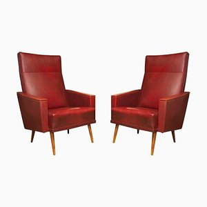 Mid-Century Leatherette Armchairs, Czechoslovakia, 1960s, Set of 2
