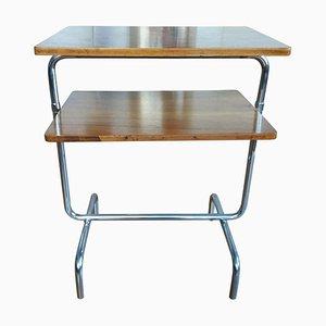 Bauhaus Chromed Side Table in Walnut by Robert Slezák, 1930s