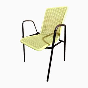 French Yellow Plastic Chairs, Set of 2