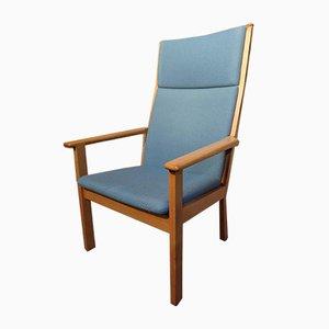 Massiver Vintage Eichenholz Armlehnstuhl von Hans Wegner