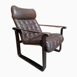 Vintage Leather Lounge Chair from Dahlqvist A.b., 1970s