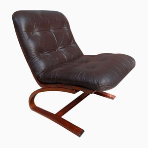 Danish Brown Leather Model R9 Lounge Chair by Ingmar Relling for Westnofa, 1970s