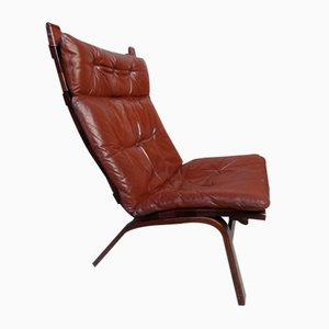Danish Brown Leather Model R6 Side Chair by Ingmar Relling for Westnofa, 1970s