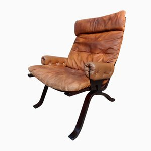 Danish Brown Leather Model R8 Armchair by Ingmar Relling for Westnofa, 1970s