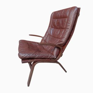 Danish Brown Leather Model R10 Armchair by Ingmar Relling for Westnofa, 1970s