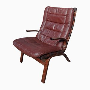Danish Brown Leather Armchair by Ingmar Relling for Westnofa, 1970s
