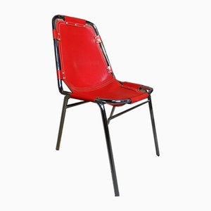 Red Leather Chair by Charlotte Perriand for Les Arcs, 1960s
