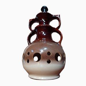 Vintage Brown Ceramic Light Base, 1960s