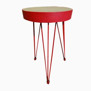 Red Metal Stool on Wire Legs, 1950s