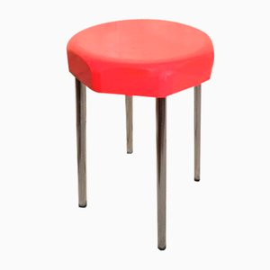 Red Chromed Leg Stool, 1950s