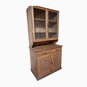 Antique Solid Blond Oak Kitchen Cabinet, 1900s