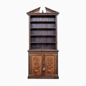 19th Century Inlaid Oak Architectural Cabinet Bookcase
