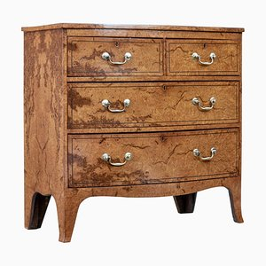 19th Century Burr Walnut Bow Front Chest of Drawers