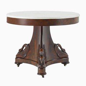 Antiker französischer Esstisch aus Mahagoni & Marmor