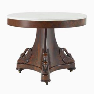 Antique French Mahogany and Marble Dining Table
