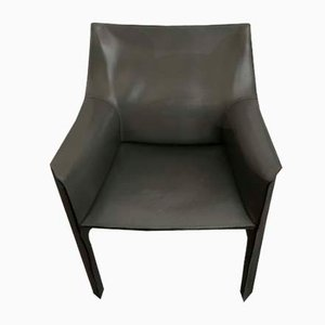 Vintage Gray Leather Model CAB-413 Armchairs by Mario Bellini for Cassina, 1980s, Set of 4
