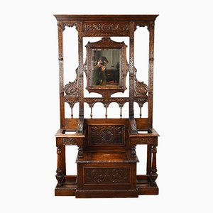 Antique Victorian Carved Oak Hall Stand