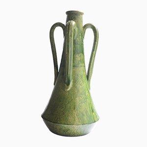Large Art Nouveau Green Glazed Ceramic Vase