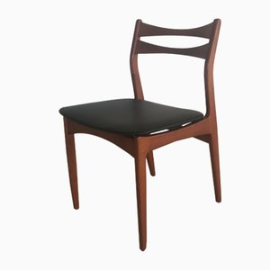 Danish Teak and Black Faux Leather Dining Chairs, 1960s, Set of 4