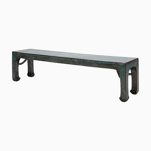 Vintage Blue Lacquered Long Bench