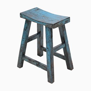 Vintage Blue Lacquered Curved Top Stool