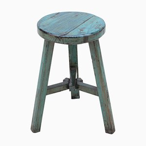 Vintage Blue Lacquered Round Stool