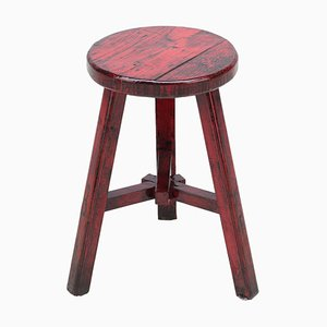 Vintage Red Lacquered Round Stool