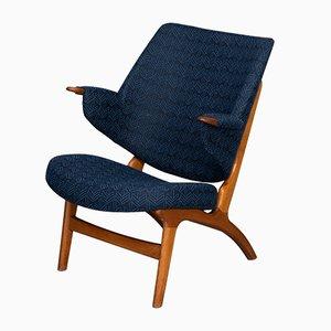 Blauer Dänischer Vintage Modell 14L Armlehnstuhl von Poul Hundevad, 1950er