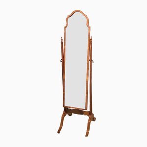 Queen Anne Style Walnut Cheval Mirror, 1920s