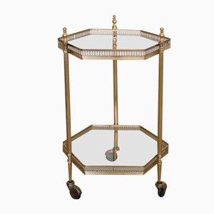 Small Hexagonal Brass and Glass Bar Cart, 1960s