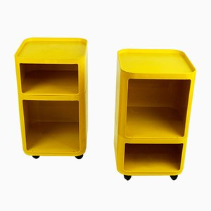Yellow Modular Trolleys by Anna Castelli Ferrieri for Kartell, 1970s, Set of 2
