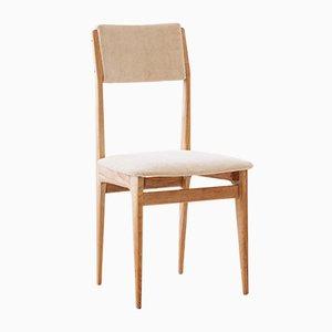 Italian Velvet and Oak Dining Chairs, 1950s, Set of 6