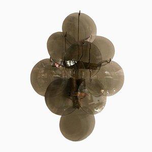 Appliques Disque Mid-Century en Verre Fumé, 1970s, Set de 2