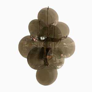 Mid-Century Smoked Glass Disc Sconces, 1970s, Set of 2