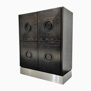 Brutalist Black Bar Cabinet, 1970s