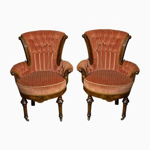 Viktorianische Boudoir Armlehnstühle, 1930er, 2er Set