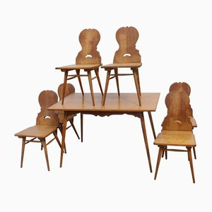 Dutch Light Oak Dining Table & Chairs Set, 1920s, Set of 7