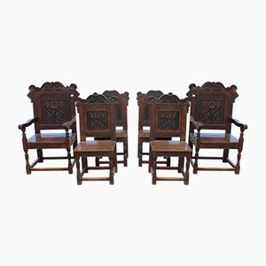 Dark Carved Oak Dining Chairs, 1880s, Set of 6