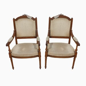 French Walnut and Creme Fabric Side Chairs, 1920s, Set of 2