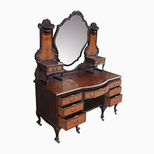 Antique Edwardian Carved Mahogany Dressing Table with Mirror