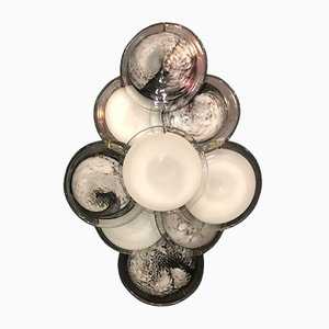 Vintage Black and White Murano Glass Disc Sconces by Gino Vistosi, Set of 2