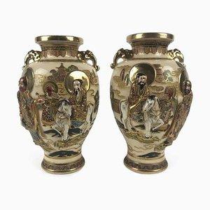 Antike Satsuma Vasen, 1900er, 2er Set