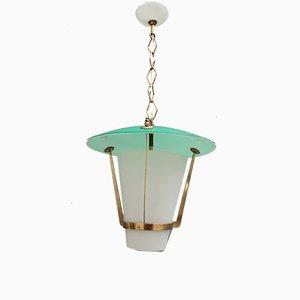 Lanterna in vetro di Murano bianco e verde di Stilnovo, anni '50
