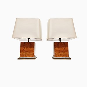 Burl Wooden Table Lamps by Jean Claude Mahey, 1970s, Set of 2