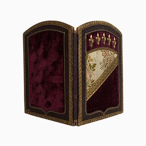 Antique French Leather and Velvet Picture Frame, 1900s