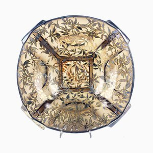 Runde Schale aus Glas & Silber, 1930er