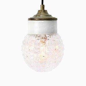 Lampe à Suspension Industrielle Vintage en Porcelaine Blanche, Verre Transparent et Laiton