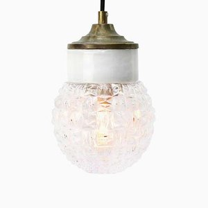 Vintage Industrial White Porcelain, Clear Glass, and Brass Pendant Lamp
